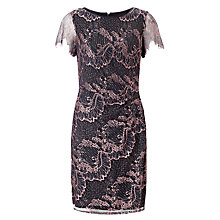 Buy Adrianna Papell Drape Detail Lace Dress, Black/Blush Online at johnlewis.com