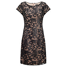 Buy Adrianna Papell Baroque Sequin T-Shirt Dress, Black/Nude Online at johnlewis.com