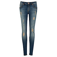 Buy Ted Baker Distressed Skinny Jeans, Mid wash Online at johnlewis.com