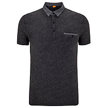 Buy BOSS Orange Pilippo Knit Collar Polo Top, Charcoal Online at johnlewis.com