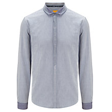 Buy BOSS Orange Emre Basket Weave Shirt, Navy Online at johnlewis.com