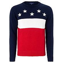 Buy Gant Cotton Block Flag Jumper, Evening Blue/Red Online at johnlewis.com