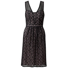 Buy Adrianna Papell Sweetheart Sheer Fit and Flare Dress, Black Online at johnlewis.com