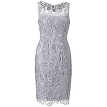 Buy Adrianna Papell Jewellery Neckline Lace Dress, Light Dove Online at johnlewis.com