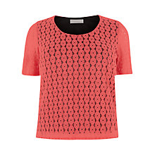 Buy Windsmoor Lace Jersey Top, Mid Pink Online at johnlewis.com
