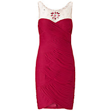 Buy Adrianna Papell Beaded Yoke Dress, Cranberry Online at johnlewis.com