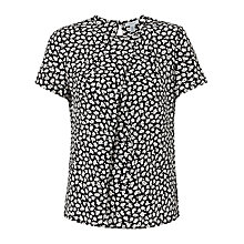 Buy Jigsaw Graphic Poppy Silk Top, Black Online at johnlewis.com