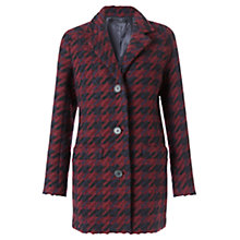 Buy Jigsaw Short Winter Dogstooth Coat, Navy / Red Online at johnlewis.com