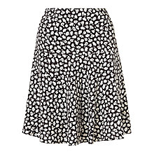 Buy Jigsaw Graphic Poppy Flippy Skirt, Black Online at johnlewis.com
