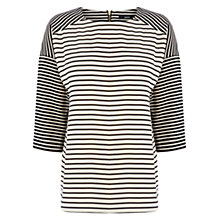 Buy Oasis Stripe Drop Sleeve Top, Black / White Online at johnlewis.com