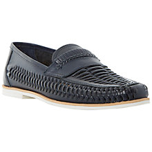 Buy Bertie Bryant Park Leather Woven Moccasin, Navy Online at johnlewis.com