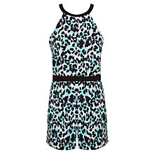 Buy Miss Selfridge Petite Animal Print Playsuit, Black Online at johnlewis.com