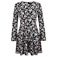 Buy Miss Selfridge Fluted Sleeve Dress, Black Online at johnlewis.com