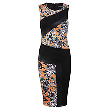 Buy Miss Selfridge Printed Colour Block Dress, Black/Orange Online at johnlewis.com