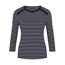 Buy Viyella Stripe Button Jersey Top, Navy Online at johnlewis.com