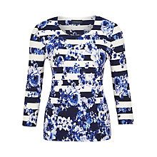 Buy Viyella Floral Stripe Jersey Top, Navy/White Online at johnlewis.com