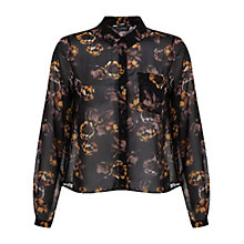 Buy Miss Selfridge Dark Floral Shirt, Black Online at johnlewis.com