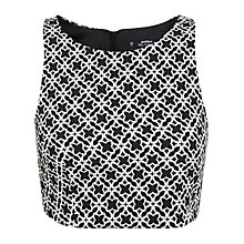 Buy Miss Selfridge Petite Mono Crop Top, Black Online at johnlewis.com