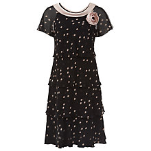 Buy Jacques Vert Petite Spot Tiered Dress, Black Online at johnlewis.com