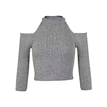 Buy Miss Selfridge Cut Out Ribbed Co-ord Top, Grey Online at johnlewis.com