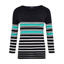 Buy Viyella Fine Stripe Jersey Top, Navy Online at johnlewis.com