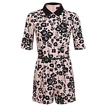Buy Miss Selfridge Collar Printed Playsuit, Pink Online at johnlewis.com