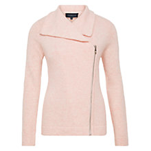 Buy Viyella Biker Zip Cardigan, Shell Pink Online at johnlewis.com
