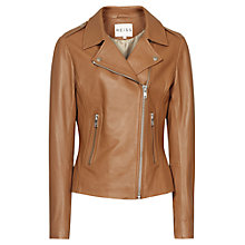 Buy Reiss Leather Biker Jacket, Tan Online at johnlewis.com