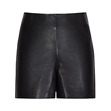 Buy Reiss Sandra Leather Shorts, Black Online at johnlewis.com