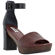 Buy Dune Jaunt Platform Leather Block Heeled Sandals, Burgundy Online at johnlewis.com