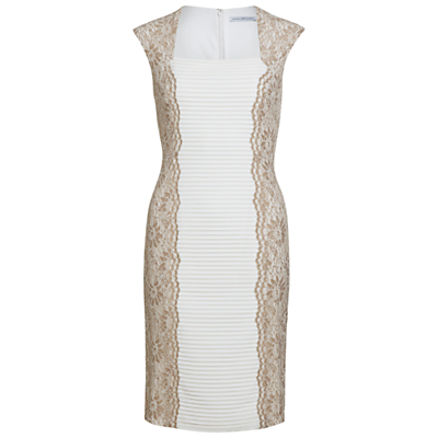 Gina Bacconi Lace Panel Jersey Dress, Beige