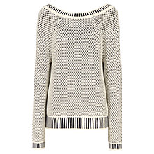 Buy Reiss Char Scoop Back Cotton Jumper, Cream / Navy Online at johnlewis.com