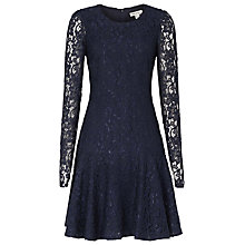 Buy Reiss Rosalin Lace Frill Dress, Night Navy Online at johnlewis.com
