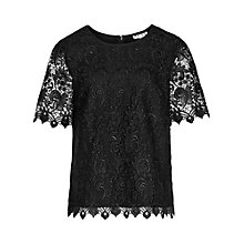 Buy Reiss Garda Lace Top, Black Online at johnlewis.com