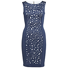 Buy Gina Bacconi Laser Cut Front Panel Dress, Navy Online at johnlewis.com