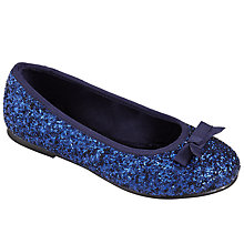 Buy John Lewis Izzy Glitter & Bow Ballet Pump Shoes, Navy Online at johnlewis.com