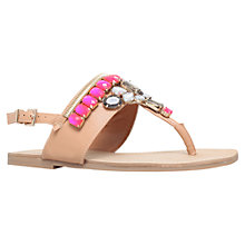 Buy Miss KG Davina Jewel Embellished Flat Sandals, Tan Online at johnlewis.com