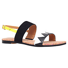 Buy Miss KG Rochana Flat Double Strap Sandals, Black/White Online at johnlewis.com