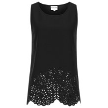 Buy Reiss Marther Laser Cutout Top, Black Online at johnlewis.com