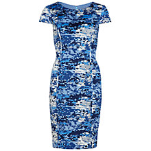 Buy Gina Bacconi Pleated Floral Print Dress, Blue Online at johnlewis.com