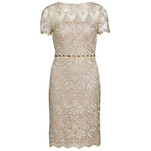 Buy Gina Bacconi Lace Dress With Beaded Waist, Antique Gold Online at johnlewis.com