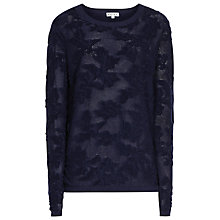 Buy Reiss Mia Mesh Jacquard Jumper, French Navy Online at johnlewis.com