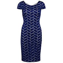 Buy Gina Bacconi Leaf Design Lace Sequin Dress, Navy/Chalk Online at johnlewis.com