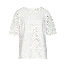 Buy Reiss Inna Lace Top, Off White Online at johnlewis.com