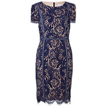 Buy Gina Bacconi Floral Scroll Fringed Scallop Lace Dress, Navy Online at johnlewis.com