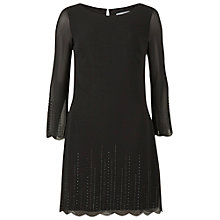 Buy Gina Bacconi Beaded Scallop Chiffon Dress, Black Online at johnlewis.com