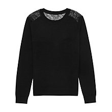Buy Reiss Delta Lace Back Jumper, Black Online at johnlewis.com
