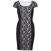 Buy Gina Bacconi Pintuck Jersey Dress With Lace, Black Online at johnlewis.com