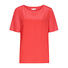 Buy Reiss Kat Silk Front Jersey Top, Guava Online at johnlewis.com