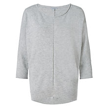 Buy Jigsaw Summer Dropped Hem Jumper, Light Grey Online at johnlewis.com